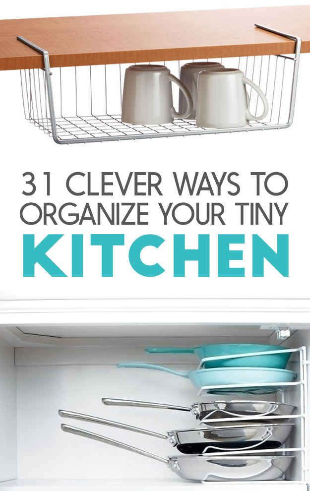 Here are 20+ ideas for ways to squeeze a little extra storage out of a small kitchen.