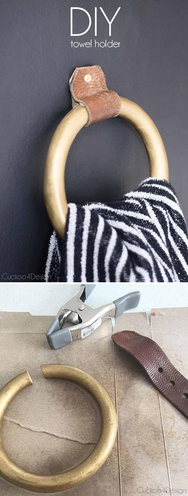DIY Towel Holder & Amazing Bathroom Decorating Ideas on a Budget - House Good