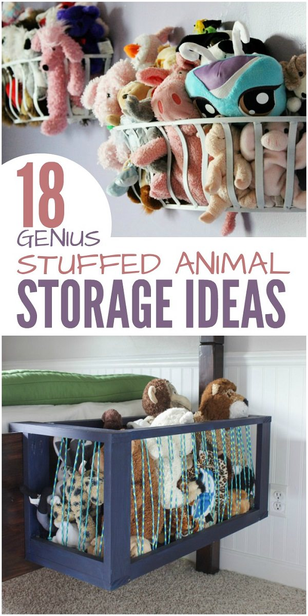 Is your kids room overflowing with toys? Organize them with these genius stuffed animal storage ideas.