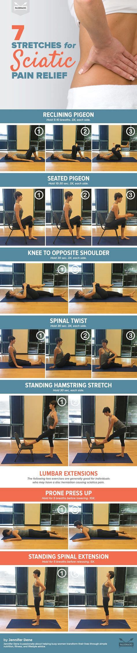 The following Seven stretches can ease tension in the piriformis muscle and are best suited to relieve piriformis-induced sciatic pain.