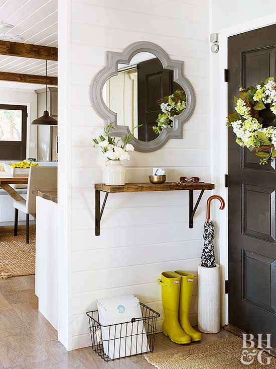 These DIY solutions will help you hack your way to an entryway. We found small-space solutions -- like hanging shelves, narrow tables, and cute cubbies -- so you can store more in your faux entryway with style.