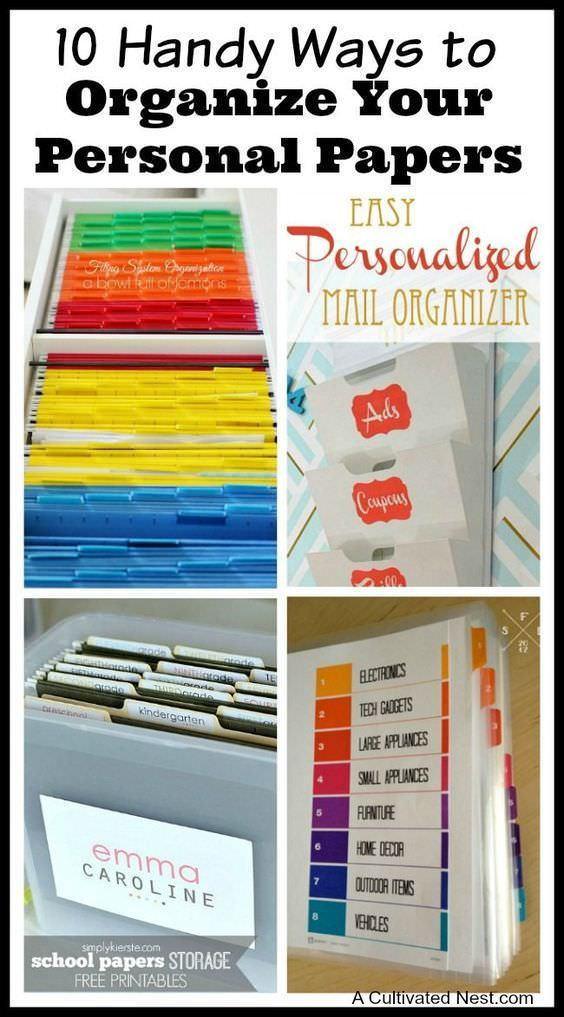 Check out these 10 Handy Ways to Organize Your Personal Papers!