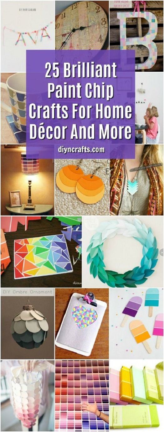 Check this list of 25 brilliant DIY ways that you can use those paint chips for home décor.